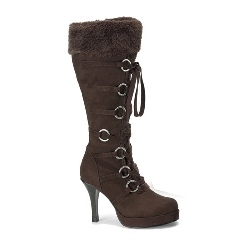 Funtasma Hunter-200 Brown Microfiber Knee Boot With Synthetic Fur Trim 3.75 Inch Size 6