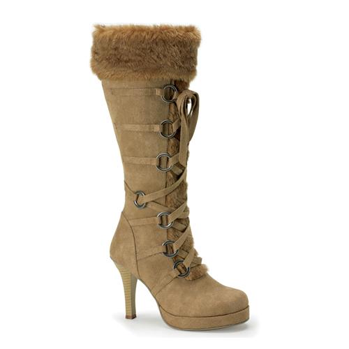 Funtasma Hunter-200 Tan Microfiber Knee Boot With Synthetic Fur Trim 3.75 Inch Size 8