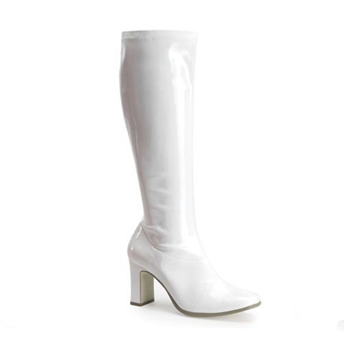 Funtasma Kiki-350 White Str Pat Gogo Boot 3.25 Inch Size 6