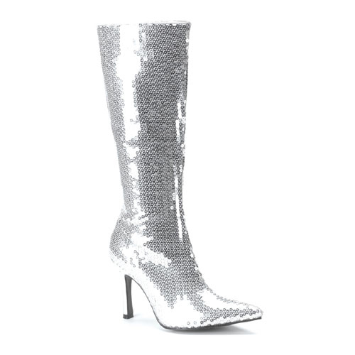 Funtasma Lust-2001Sq Silver Sequins Knee Boot 3.75 Inch Size 9