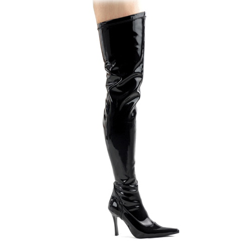 Funtasma Lust-3000 Black Str Pat Thigh Boot 3.75 Inch Size 6