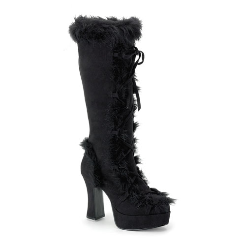 Funtasma Mammoth-311 Black Microfiber With Faux Synthetic Fur Platform Boot 4 Inch Size 11