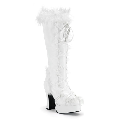 Funtasma Mammoth-311 White Pump With Faux Synthetic Fur Platform Boot 4 Inch Size 10