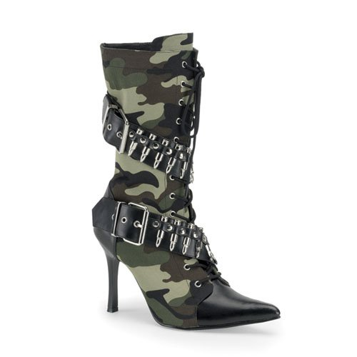 Funtasma Militant-128 Green Camoflage Bullet Military Boot 3.75 Inch Size 11