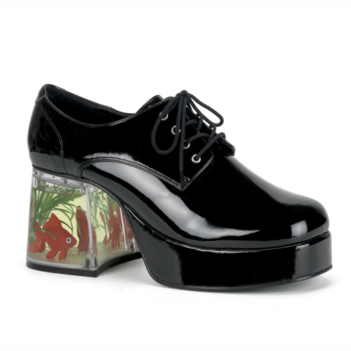 Funtasma Pimp-02 Black Pat Men  Platform With Floating Fish 3.5 Inch Size L