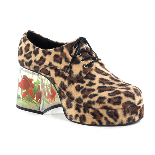 Funtasma Pimp-02 Cheetah Synthetic Fur Men  Platform With Floating Fish 3.5 Inch Size M