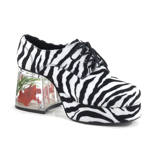 Funtasma Pimp-02 Zebra Fur Men S Platform With Floating Fish 3.5 Inch Size L