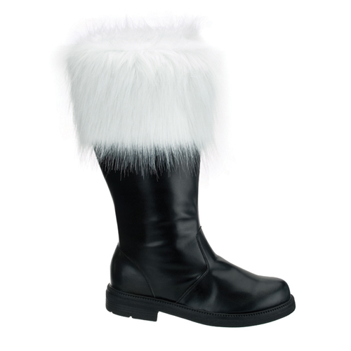 Funtasma Santa-100 Black Pump Santa Boot With White Fur Trim Size L