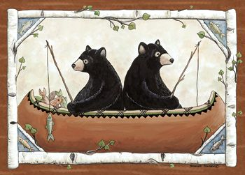 Custom Printed Rugs BEARS IN CANOE Bears In Canoe Wildlife Rug