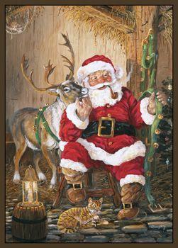 Custom Printed Rugs SANTA and REINDEER Santa and Reindeer Rug