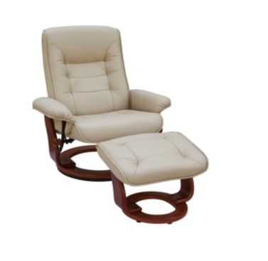 BenchMaster 7282 TAUPE Hartford Style Line Leather Recliner with Matching Ottoman - Taupe with Butterscotch Base