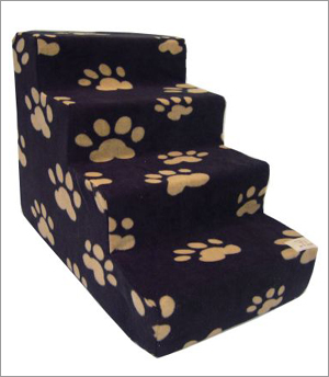 Best Pet Supplies ST2105S Pet Stairs in Beige Paws on Black with 5 Steps