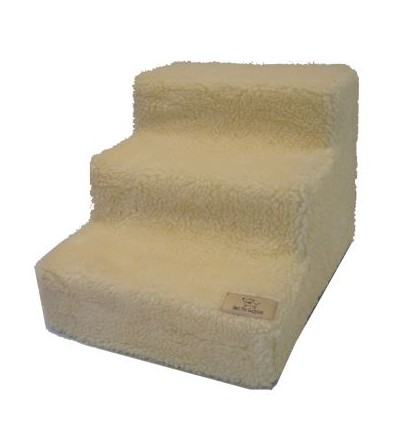 Best Pet Supplies ST2205S Pet Stairs in White Lambs wool with 5 Steps