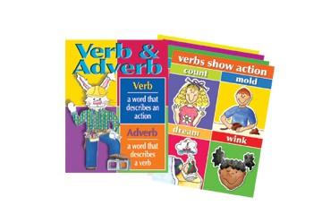 Barker Creek LL-509D Verbs and Adverbs Chart Set