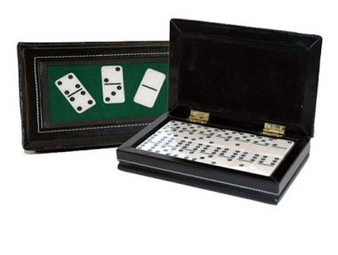 CHH 2530 Double 6 Domino in Black Leatherette case CHHG015