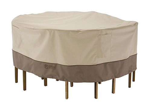 Classic Accessories 71922 Tall Patio Table and Chair Set Cover in Pebble/ Earth/ Bark