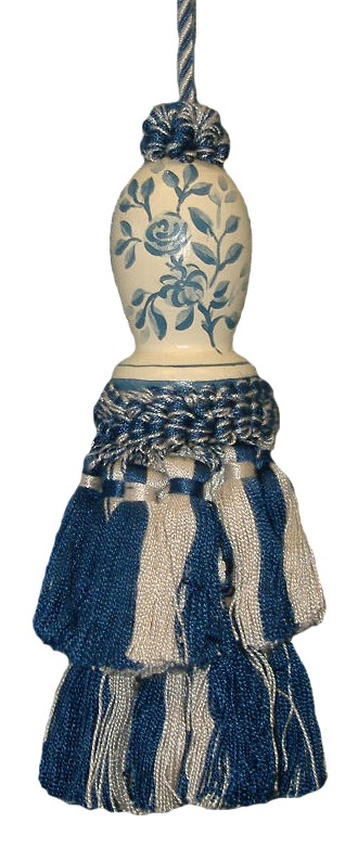123 Creations C091B.6 Inch Toile-blue - hand painted Tassel