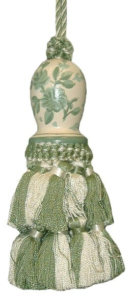 123 Creations C091G.6 Inch Toile-Sage - Hand Painted Tassel