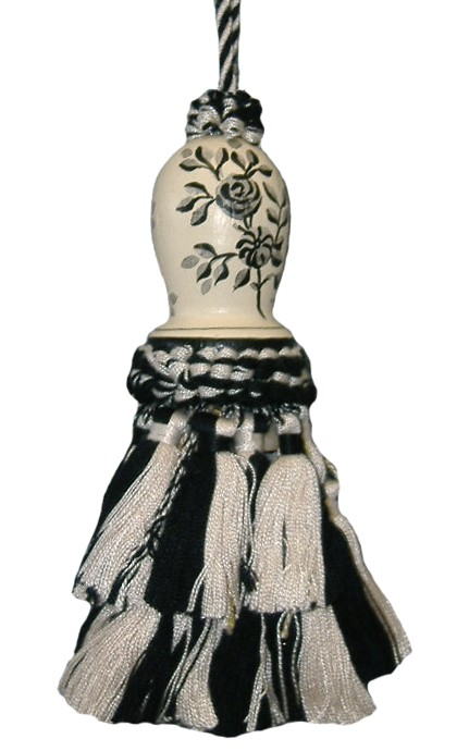 123 Creations C091K.6 Inch Toile-Black - Hand Painted Tassel