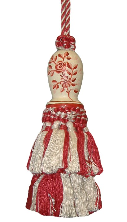 123 Creations C091RD.6 Inch Toile-Red - Hand Painted Tassel