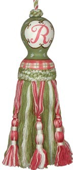 123 Creations C450EE.8 Inch Initial Tassel - Green and Pink