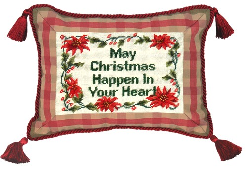123 Creations C464.9x12 inch May Christmas Happen Needlepoint Christmas Pillow 100 Percent Wool