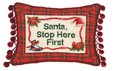 123 Creations C466.9x12 inch Santa Stop Here First Needlepoint Christmas Pillow 100 Percent Wool