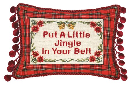 123 Creations C469.9x12 inch Put a Little Jingle Needlepoint Christmas Pillow 100 Percent Wool
