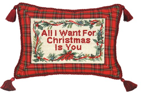 123 Creations C470.9x12 inch All I Want for Christmas Needlepoint Christmas Pillow 100 Percent Wool
