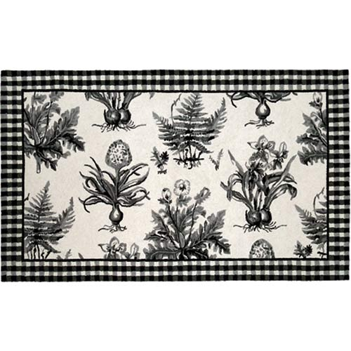 123 Creations C700.4 rd Black and White Botanical Hooked Rug - 100 Percent Wool 120 Knot