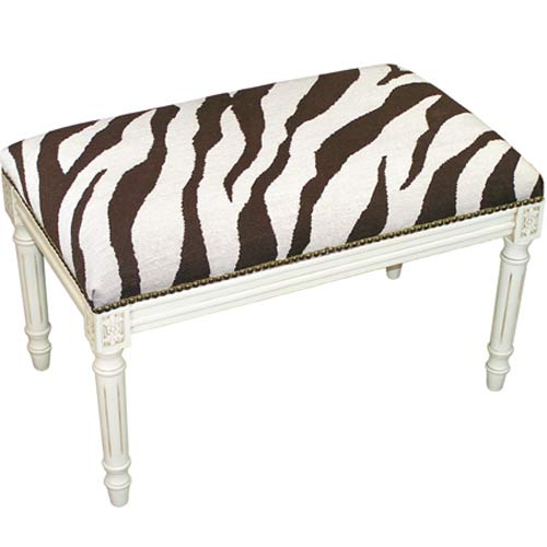 123 Creations C728EWBC Zebra in Brown Needlepoint Bench in White Wash - 100 Percent Wool