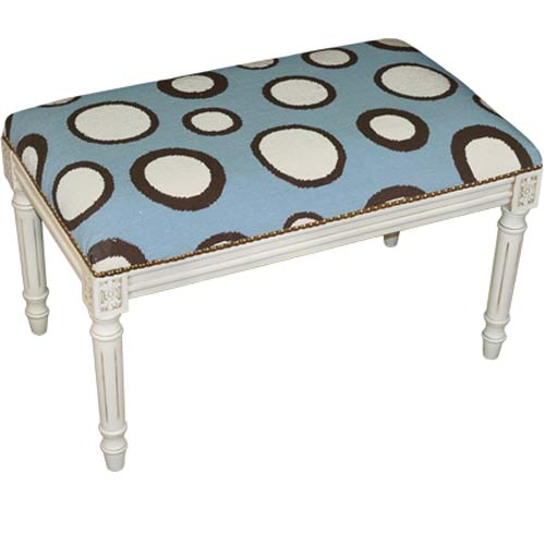 123 Creations C731AWBC Dots in Blue Needlepoint Bench in White Wash - 100 Percent Wool