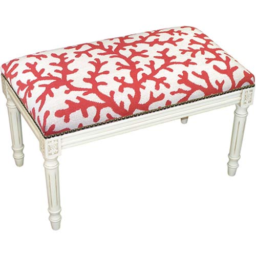 123 Creations C762WBC Coral Colored Coral Needlepoint Bench in White Wash - 100 Percent Wool