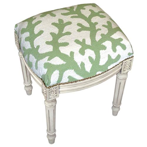 123 Creations C763WFS Coral in Green Needlepoint Stool in White Wash - 100 Percent Wool