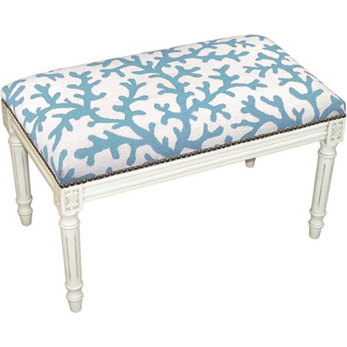 123 Creations C764WBC Coral in Blue Needlepoint Bench in White Wash - 100 Percent Wool