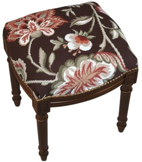 123 Creations C909FS Jacobean-Brown Needlepoint Stool