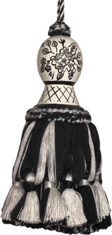 123 Creations CB046K-5.5 Inch Provencal Black Toile - Hand Painted Tassel