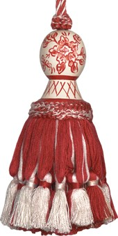 123 Creations CB046R-5.5 Inch Provencal Red Toile - Hand Painted Tassel
