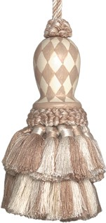 123 Creations CB047N-5.5 Inch Harlequin - Natural Hand Painted Tassel