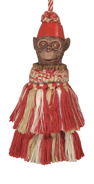 123 Creations CB072-7 Inch Monkey - Dark Red Tassel