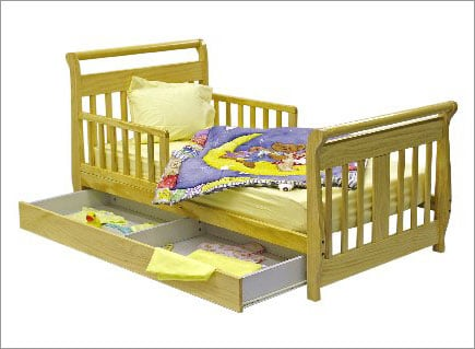 Dream On Me 643N Sleigh Toddler Bed with Trundle in Natural