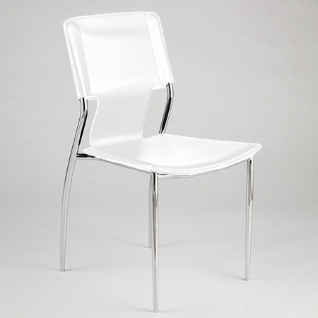 Euro Style 04414 Tobago Stacking Chair Set of 4- White-Chrome