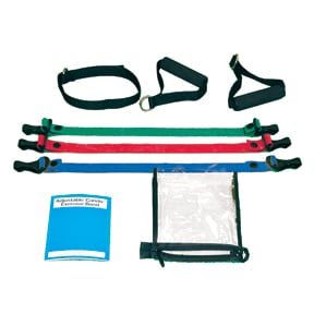 Cando 10-3231 Adjustable Exercise Band Kit - 4 Band - Yellow  Red  Green  Blue