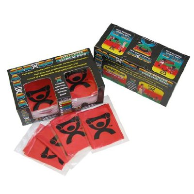 Cando 10-5242 - Low Powder Exercise Band - Dispenser Box Of 40 - 4ft Ready To Use - Red - Light