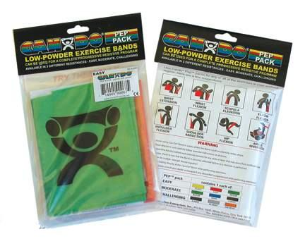 Cando 10-5280 Exercise Band PEP Pack - Easy - Yellow  Red  Green