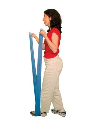 Cando 10-5604 No Latex Exercise Band - 4ft Ready to Use - Blue - Heavy
