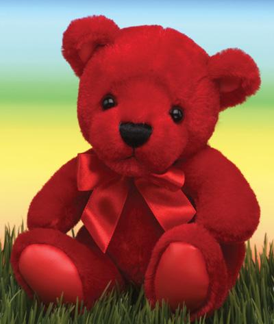 "First & Main Inc. 1581 6"" Rainbow Bear - Red"