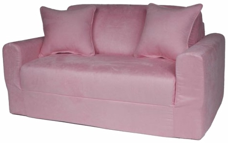 Fun Furnishings 11230 - Pink Micro Suede Sofa Sleeper