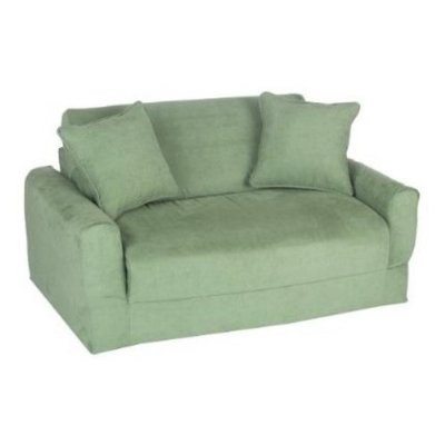 Fun Furnishings 10233 Green Micro Suede Sofa Sleeper