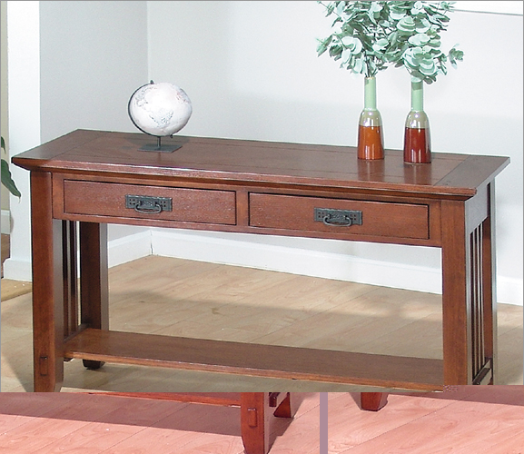 Jofran 036-4 Sofa Table With 2 Drawers And Shelf - Viejo Brown Mission Oak Finish